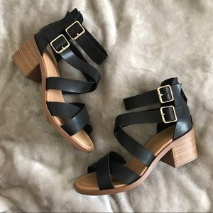 City Classified Black Strappy Block Heel Sandals